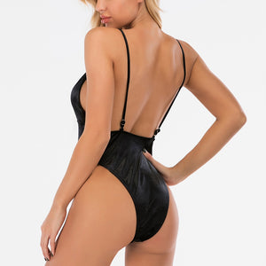 Velvet Solid Straps Padded One Piece Swimsuit Black