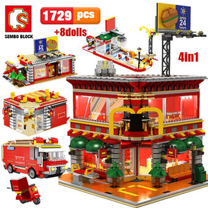 4 In 1 LED Restaurant Architecture Model Building Blocks Toy 1729 pcs + 8 dolls