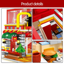 Load image into Gallery viewer, 4 In 1 LED Restaurant Architecture Model Building Blocks Toy 1729 pcs + 8 dolls
