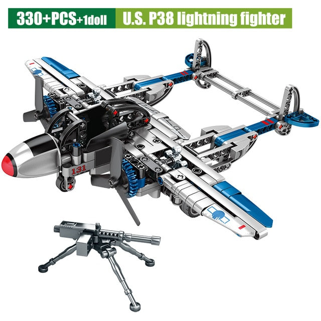 Military Series Fighter Airplane Model WW2 U.S P38 Lightning Fighter Building Blocks Toy 330 pcs + 1 dolls