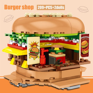 Hamburger Shop Food Store Buildings Blocks Toy 209 pcs + 2 dolls