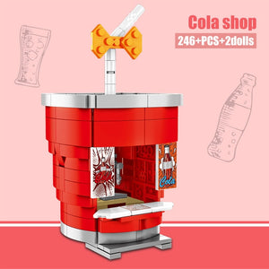 Coca Cola Shop Food Store Buildings Blocks Toy 246 pcs + 2 dolls