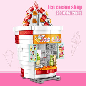 Ice Cream Shop Food Store Buildings Blocks Toy 280 pcs + 2 dolls