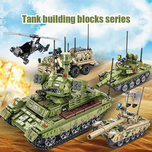 Military WW2 Tank Model 3 Building Blocks Toy + 2 dolls
