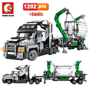 Big Truck Container Building Blocks Toy 1202 pcs + 3 dolls