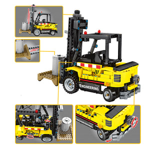 Construction Vehicle Forklift Building Blocks Toy + 2 dolls