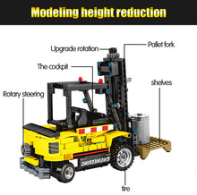 Load image into Gallery viewer, Construction Vehicle Forklift Building Blocks Toy + 2 dolls