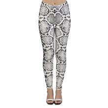 Load image into Gallery viewer, White Snake Skin Printing High Waist Women Leggings