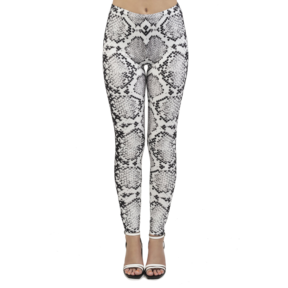 White Snake Skin Printing High Waist Women Leggings