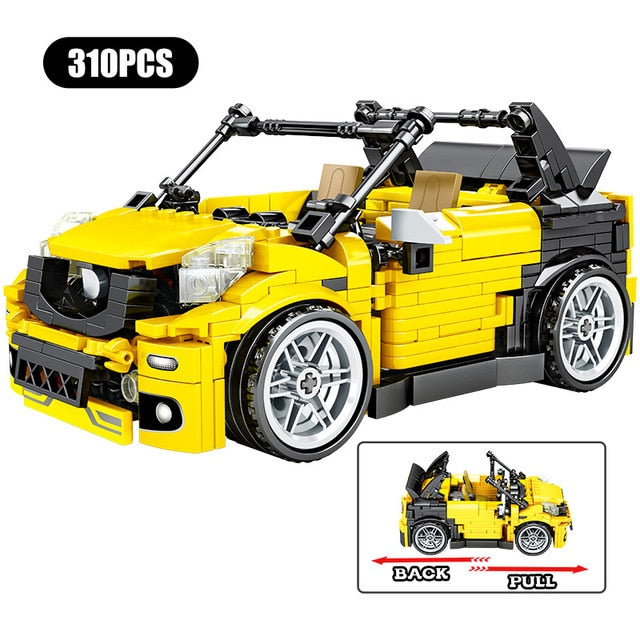Pull Back Extreme Speed Super Racing Car Building Blocks Toy Model 4 310 pcs