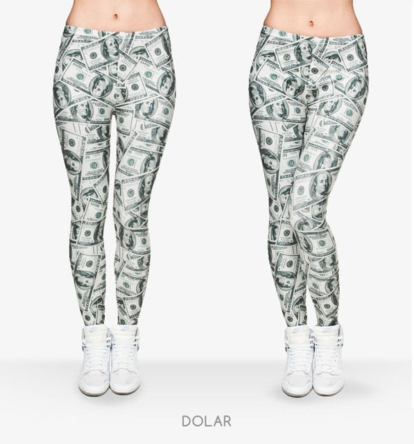Money Dollar Printing High Waist Women Leggings