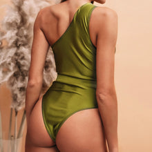 Load image into Gallery viewer, One-Shoulder Belt Padded One Piece Swimsuit Green