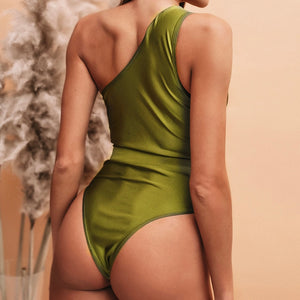 One-Shoulder Belt Padded One Piece Swimsuit Green