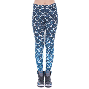 Mermaid Glitter Printing High Waist Women Leggings
