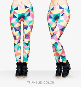 Triangles Color Printing High Waist Women Leggings