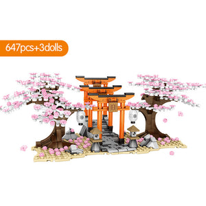 Sakura Street View Cherry Blossom Inari Shrine Building Blocks Toy 647 pcs + 3 dolls