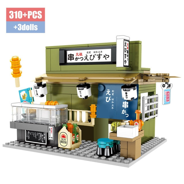 Food Store Model 6 Building Blocks Toy 310 pcs + 3 dolls