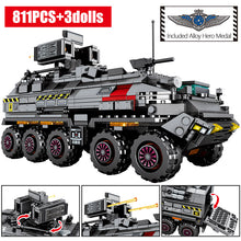 Load image into Gallery viewer, Military Tank Cargo Carrier Model 4 Building Blocks Toy 811 pcs + 3 dolls