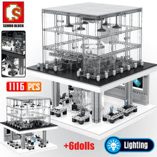 Load image into Gallery viewer, LED Light Apple Store Model Building Blocks Toy 1116 pcs + 6 dolls