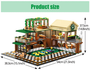 Cafe Coffee Shop Model Building Blocks Toy 2059 pcs + 12 dolls