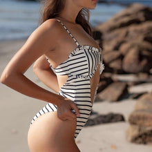 Load image into Gallery viewer, Striped Padded One Piece Swimsuit White