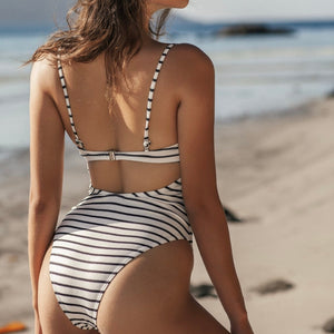 Striped Padded One Piece Swimsuit White