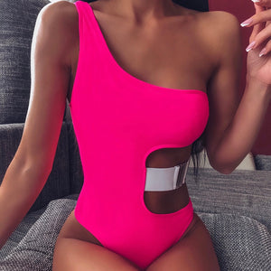One Shoulder Belt Padded One Piece Swimsuit Pink