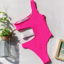 Load image into Gallery viewer, One Shoulder Belt Padded One Piece Swimsuit Pink