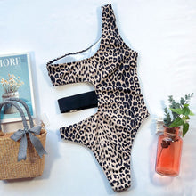 Load image into Gallery viewer, One Shoulder Belt Padded One Piece Swimsuit Leopard Print
