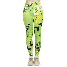 Load image into Gallery viewer, Fluorescent Green Neon Printing High Waist Women Leggings