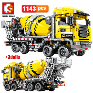 City Engineering Cement Mixer Building Blocks Construction Toy 1143 pcs + 3 dolls
