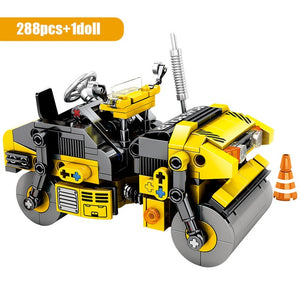 City Engineering Road Roller Building Blocks Construction Toy 288 pcs + 1 doll