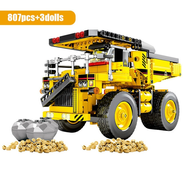 City Engineering Truck Building Blocks Construction Toy 807 pcs + 3 dolls
