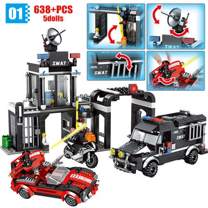 City Police Swat Prison + Car Team Building Blocks Toy 638 pcs + 5 dolls