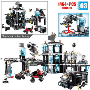 City Police Military Helicopter + Police Station Building Blocks Toy 1464 pcs + 10 dolls