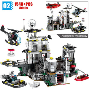 City Police Military Helicopter & Ship Building Blocks Toy 1548 pcs + 8 dolls