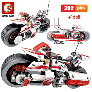 Pull Back Off-road Motorcycle Model Building Blocks Toy 392 pcs + 1 doll