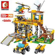 Load image into Gallery viewer, City Police Jungle Truck Car + Military Rescue Station & Helicopter Model Building Blocks Toy 725 pcs + 6 dolls