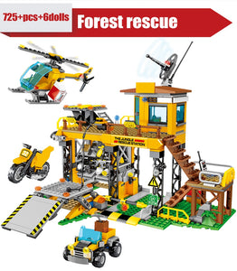 City Police Jungle Truck Car + Military Rescue Station & Helicopter Model Building Blocks Toy 725 pcs + 6 dolls
