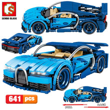 Load image into Gallery viewer, Pull Back Mechanical Blue Racing Car Model Building Blocks Toy 641 pcs