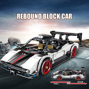 Pull Back Mechanical White Racing Car Model Building Blocks Toy 641 pcs