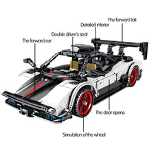 Load image into Gallery viewer, Pull Back Mechanical White Racing Car Model Building Blocks Toy 641 pcs