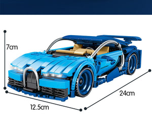 Pull Back Mechanical Blue Racing Car Model Building Blocks Toy 641 pcs