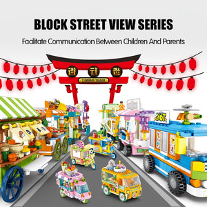 Ice Cream Car Truck and Snack Stall Modal 2 Building Blocks Toy 608 pcs + dolls