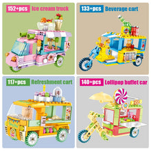 Load image into Gallery viewer, Ice Cream Car Truck and Snack Stall Modal 3 Building Blocks Toy 542 pcs + dolls