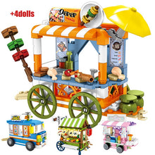 Load image into Gallery viewer, Ice Cream Car Truck and Snack Stall Modal 2 Building Blocks Toy 608 pcs + dolls