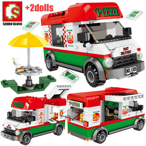 Pizza Takeaway Vehicle Building Blocks Toy 240 pcs + 2 dolls
