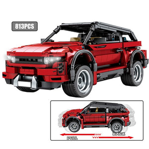Pull Back Off-road Red SUV Vehicles Building Blocks Toy 813 pcs