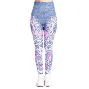 Mandala pink imitate Jeans Printing High Waist Women Leggings