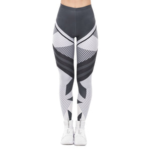 Dark Gray Stripes Printing High Waist Women Leggings